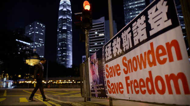 A banner shows support for Edward Snowden, in Hong Kong on Monday. (AFP/Getty Images)