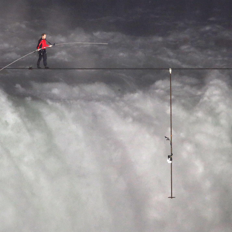 Aerialist Nik Wallenda traversing Niagara Falls last June.
