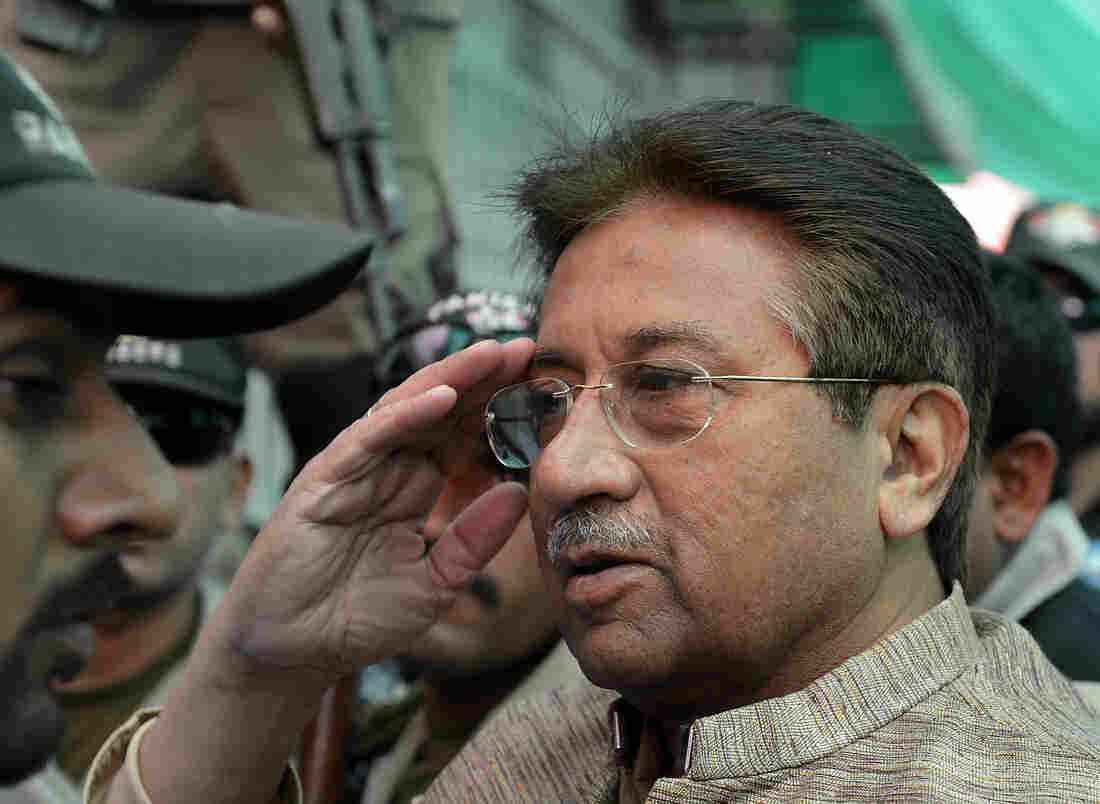 Former Pakistani President Pervez Musharraf at an anti-terrorism court in Islamabad on April 20.