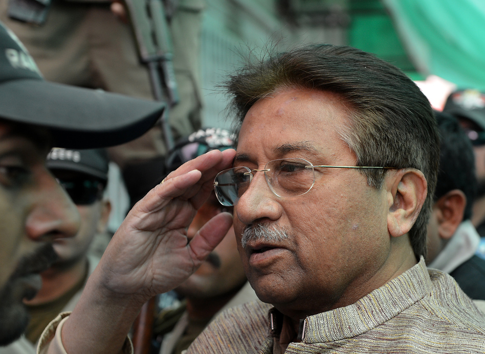 Former Pakistani President Pervez Musharraf at an anti-terrorism court in Islamabad on April 20.