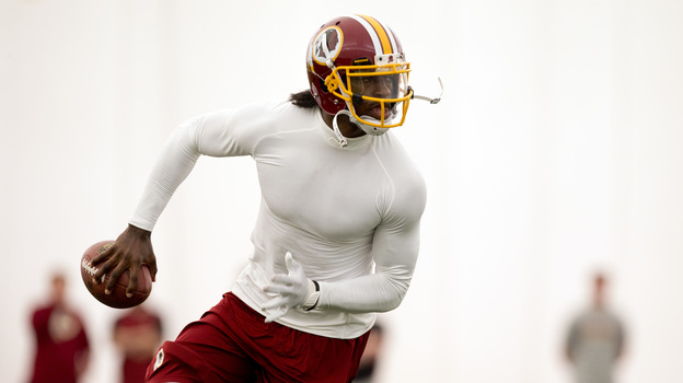 Washington Redskins quarterback Robert Griffin III already promotes Subway sandwiches. Will health insurance be next? (AP)