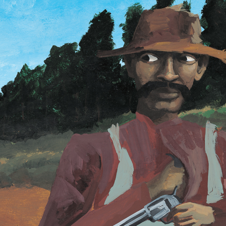 Bad News For Outlaws tells the true story of Bass Reeves, an African-American U.S. marshal in the Old West -- shown here disguised as a farmer. The book won a Coretta Scott King award and became one of Lerner Books' best-selling titles.