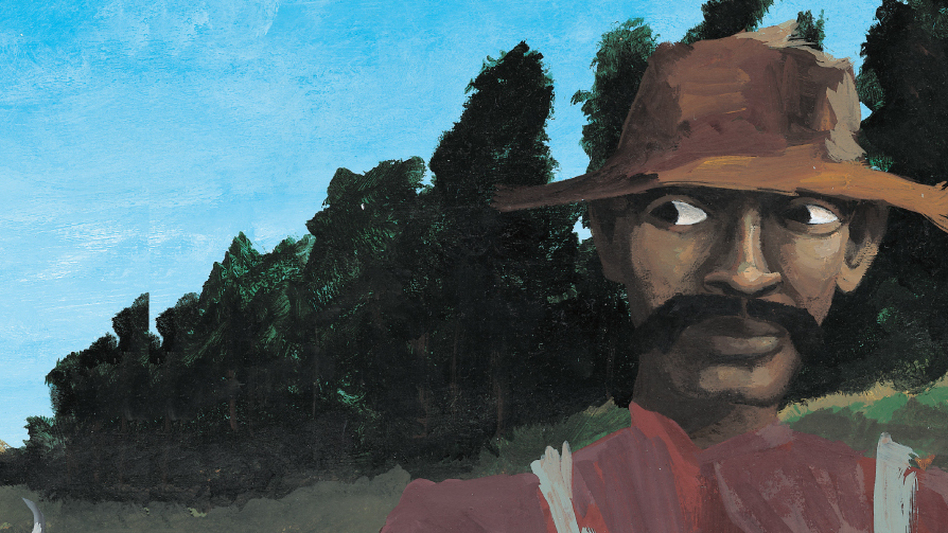 Bad News For Outlaws tells the true story of Bass Reeves, an African-American U.S. marshal in the Old West — shown here disguised as a farmer. The book won a Coretta Scott King award and became one of Lerner Books' best-selling titles. (Courtesy Lerner Publishing)