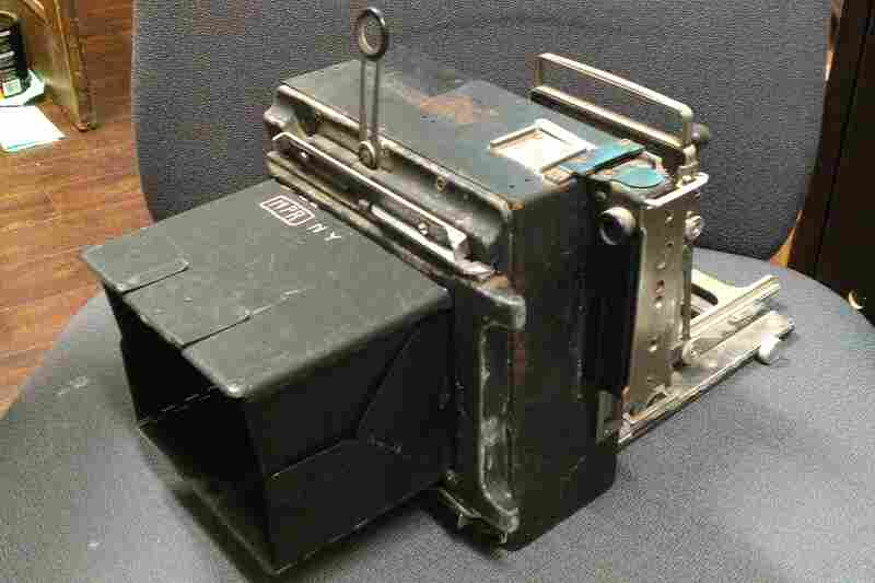 """This Graflex Crown Graphic camera turned up in an antique store in Toronto with """"NPR NY"""" etched into the top. Who originally owned it and what does """"NPR NY"""" mean? Leave your thoughts in the comments section below."""