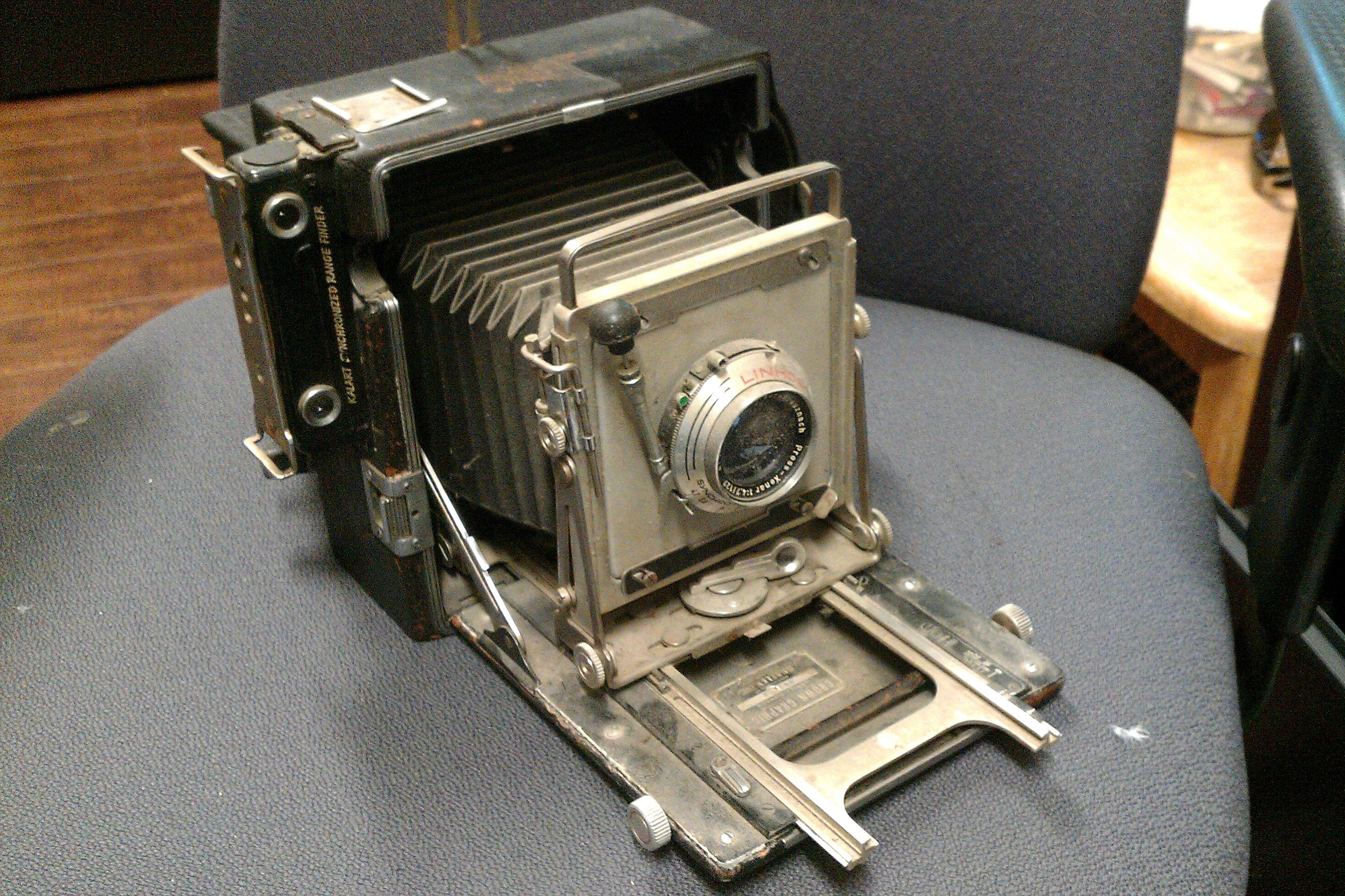 This Crown Graphic camera was likely manufactured sometime between 1947 and 1955. Many of these types of cameras were used by the press.