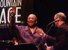 "Bobby ""Blue"" Bland and Larry Groce during the blues singer's appearance on Mountain Stage in 2003."