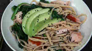 Linguini and Spinach with Smoked Salmon, Avocado and Gingery Almond-Lime Dressing