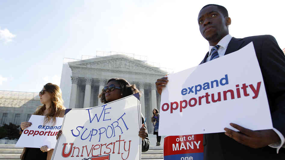 Students calling for diversity protest outside the Supreme Court in Washington, D.C., on Oct 10, 2012.