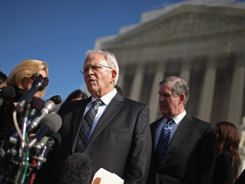 Shelby County, Ala., attorney Butch Ellis talks to reporters outside of the U.S. Supreme Court in February, when oral arguments were heard in the Voting Rights Act case.