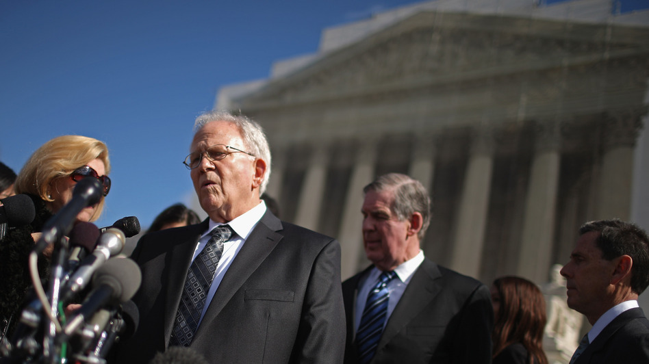 Shelby County, Ala., attorney Butch Ellis talks to reporters outside of the U.S. Supreme Court in February, when oral arguments were heard in the Voting Rights Act case. (Getty Images)