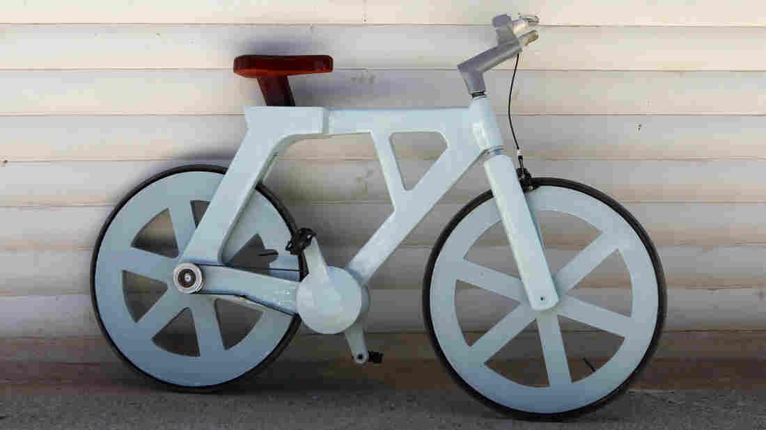 The cardboard bicycle.