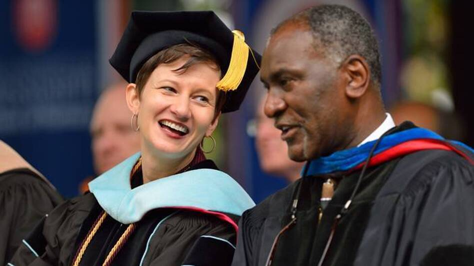 Brandi Hephner LaBanc (left) and Donald Cole during commencement at the University of Mississippi in May. The two have spearheaded the new seminar discussing last year's election night rally.