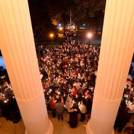 Students at Ole Miss responded to the Nov. 6 rally with a candlelight walk the following evening.
