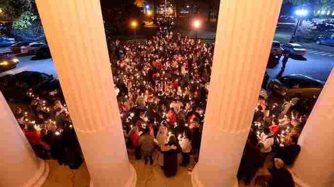 Students at Ole Miss responded to the Nov. 6 rally with a candlelight wal
