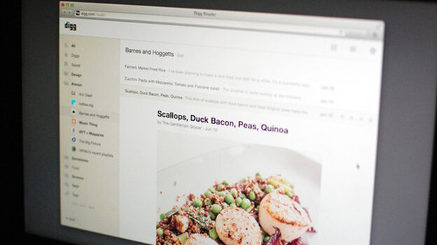 An image shows the new Digg Reader, built as an option to replace Google Reader