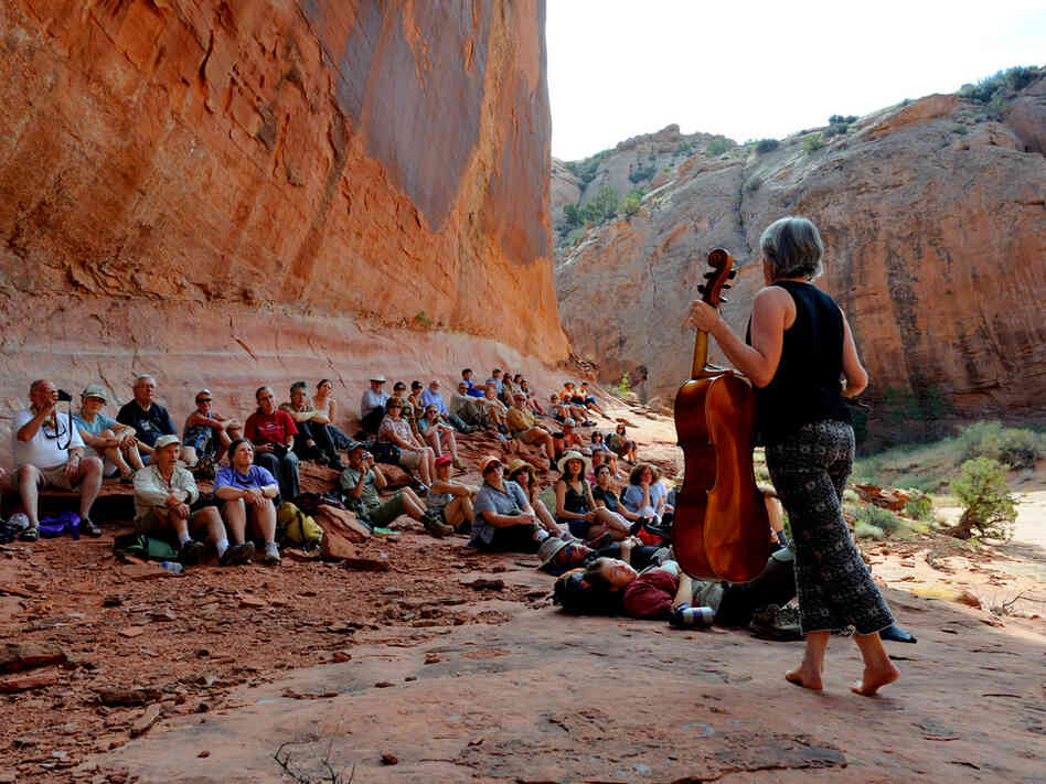 At the Moab Festival in Utah, patrons can hike to a secret spot to hear concerts.