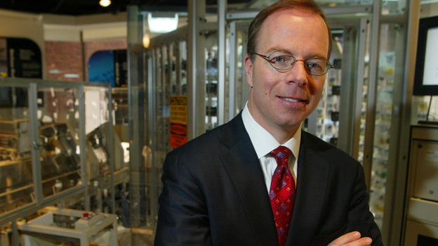 McKesson CEO John Hammergren, seen here in 2005, has what analysts call the largest pension on record, at $159 million. In his 14 years in a leadership role, the drug distributor's revenues have quadrupled. (AP)