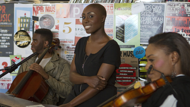 Laura Mvula performs a Tiny Desk Concert on May 15, 2013. (NPR)