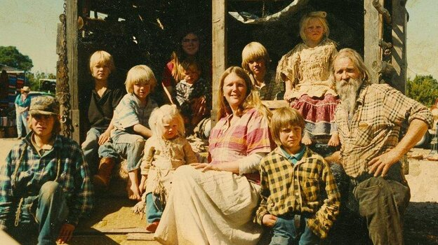 Before Alaska, the Pilgrim family — seen here in 1992 — lived an isolated life in New Mexico's Sangre de Cristo Mountains.
