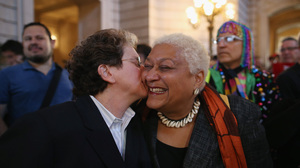 At San Francisco's City Hall, supporters of gay marriage celebrate the Supreme Court DOMA ruling.
