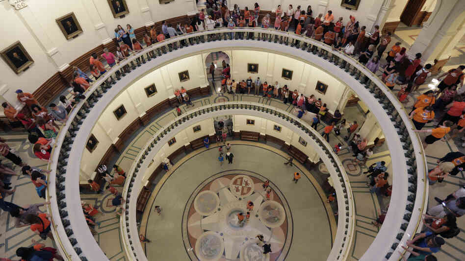 The Texas Capitol rotunda filled with supporters of state Sen. Wendy Davis, D-Fort Worth, wh