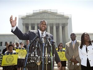 Ryan P. Haygood, director of the NAACP Legal Defense Fund, talks outside the Supreme Court on Tuesday about