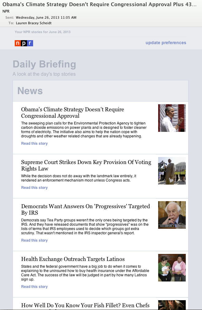 "After: Today, our new ""Daily Digest"" newsletter includes fully-customizable sections. Viewers on mobile phones receive an optimized version."