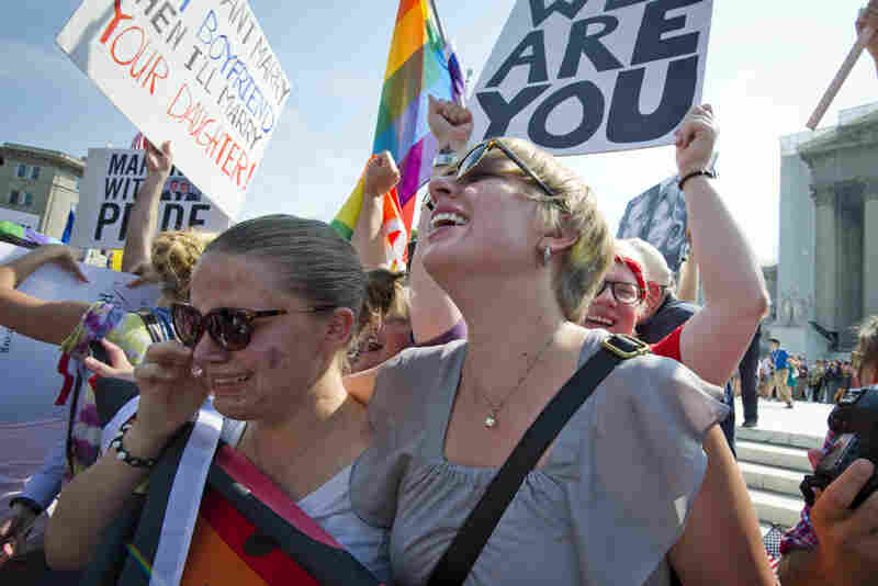 The Supreme Court on Wednesday struck down the federal Defense of Marriage Act, or DOMA, in a major victory for supporters of same-sex marriage, who cheered the ruling outside the court.
