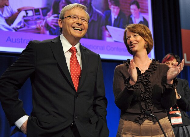 Kevin Rudd, the incoming prime minster, and Julia Gillard, the outgoing prime minister, in happier times.