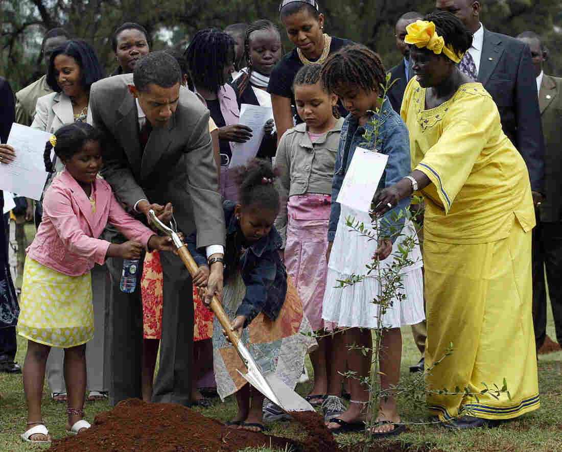 When Barack Obama was a U.S. senator in 2006, he visited Kenya, the homeland of his father. He's shown here planting a tree with Wangari Maathai, a Kenyan who won the Nobel Peace Prize. He is not stopping in Kenya on his current African tour, however, a decision that has upset many Kenyans.