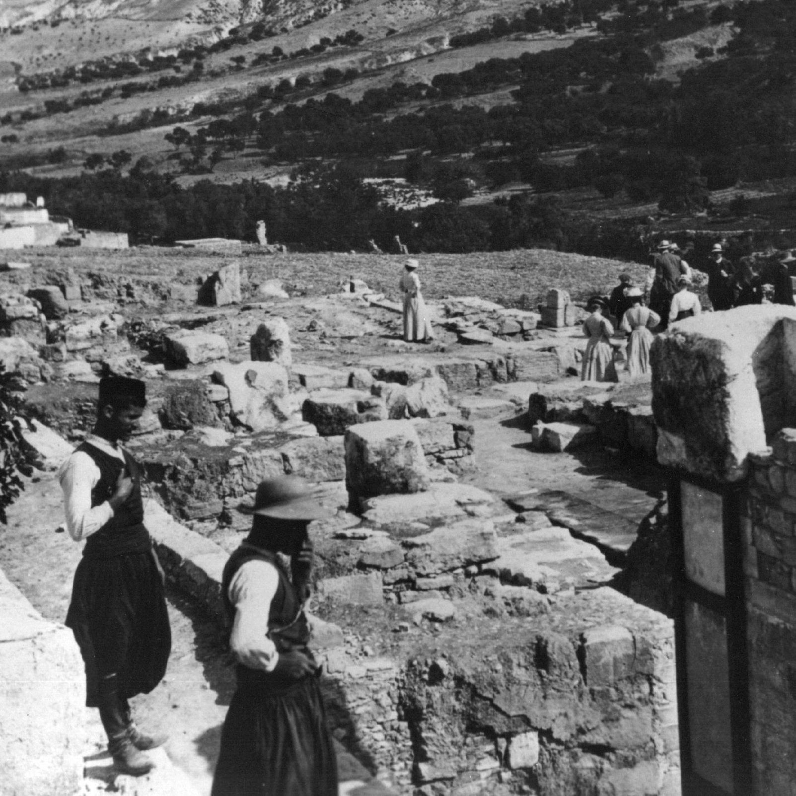 The Linear B tablets were discovered in 1900 among the ruins of the Palace of Minos in Knossos, Crete, seen here in 1910.