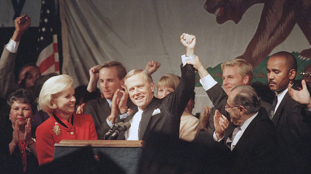 Republicans celebrated when California Gov. Pete Wilson was re-elected in 1994. But his divisive campaign led to a backlash, especially among the growing Latino population in the state. (AP)