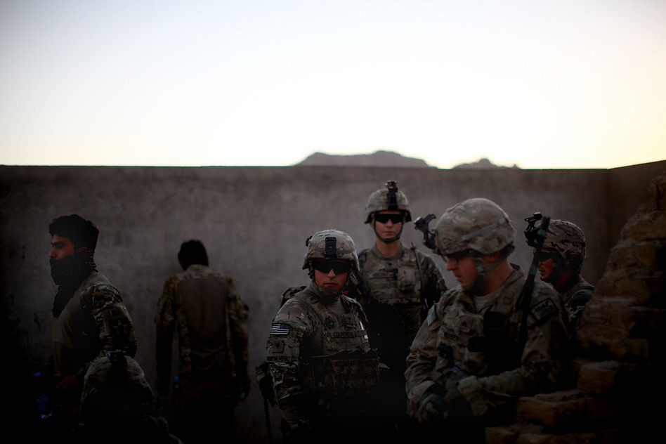 U.S. soldiers prepare for a foot patrol in Arghandab. The American forces have pacified the area for now, but it's been a tough fight, and there are concerns that the Taliban will attempt to reassert themselves after the U.S. troops leave. (NPR)