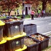 Compost bins at the Grand Army Plaza Greenmarket in Brooklyn, N.Y. are part of a pilot program to get New Yorkers to recycle their food waste.