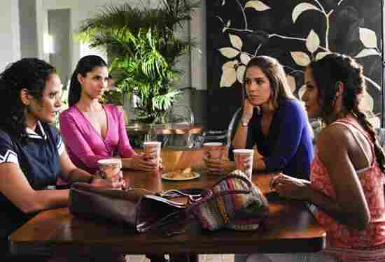 Judy Reyes (from left), Roselyn Sanchez, Ana Ortiz and Dania Ramirez all star in Lifetime's new series about Latina housemaids, Devious Maids.
