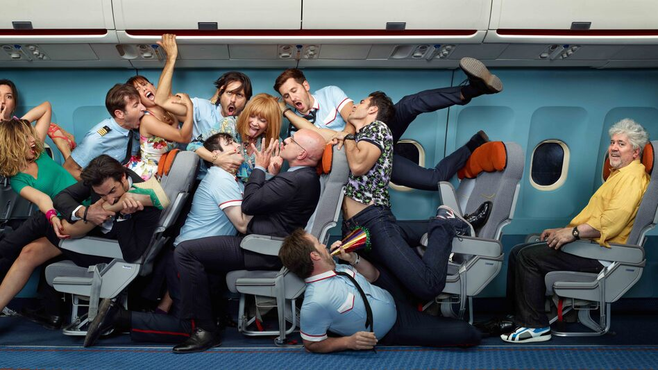 I'm So Excited, a candy-colored comedy from Spanish director Pedro Almodovar (at right), finds an eclectic assortment of highly strung passengers coping with an airborne emergency en route to Mexico City. (Sony Pictures Classics)