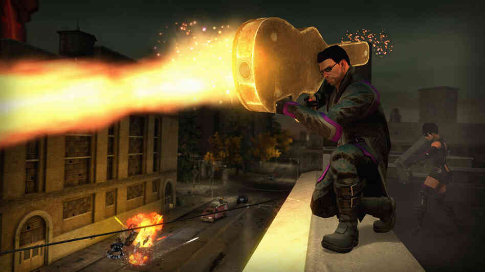 In this shot from the game Saints Row IV, it sure looks like somebody is warding off an attack with a guitar.