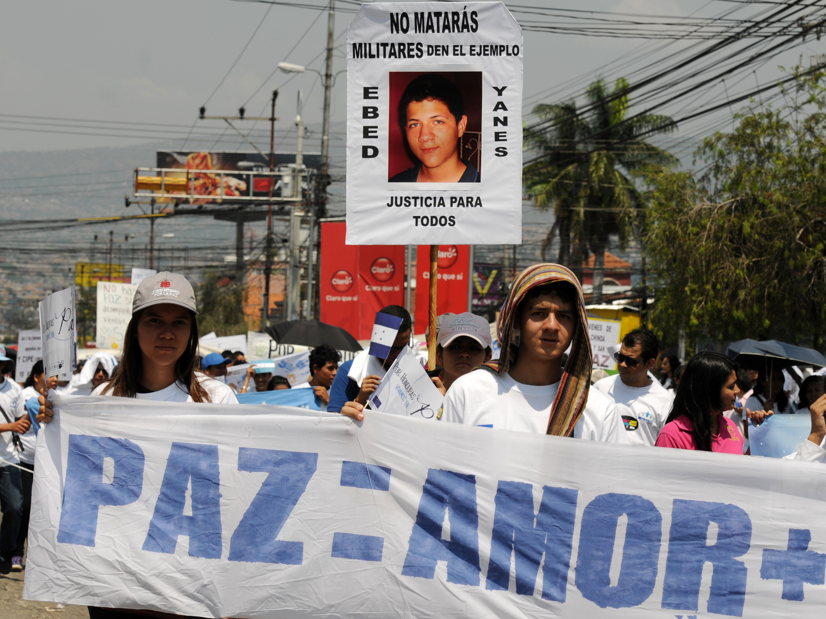 Thousands of Hondurans, joined by delegates of the European Union based in the country, take part in the March for Peace in Tegucigalpa, on May 5. Honduras has the world's highest murder rate, at 92 deaths per 100,000 people, according to a recent statement by a UNESCO authority.