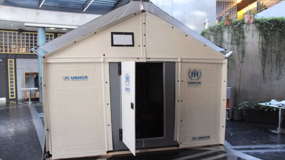 ...into a temporary shelter that is designed to last up to three years and provide electricity via solar panels. (Ikea Foundation)