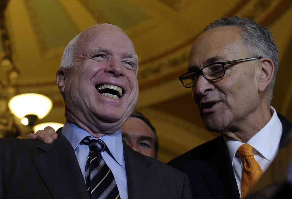 Sens. John McCain, R-Ariz., and Charles Schumer, D-N.Y., shared the pleasure that came with the Senate passing its immigration bill. The House could soon