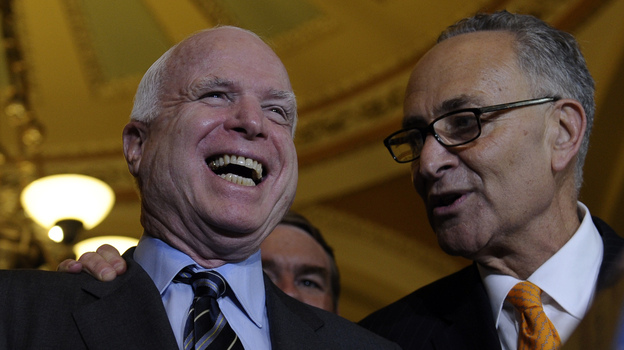 Sens. John McCain, R-Ariz., and Charles Schumer, D-N.Y., shared the pleasure that came with the Senate passing its immigration bill. The House could soon ruin their happiness. (AP)