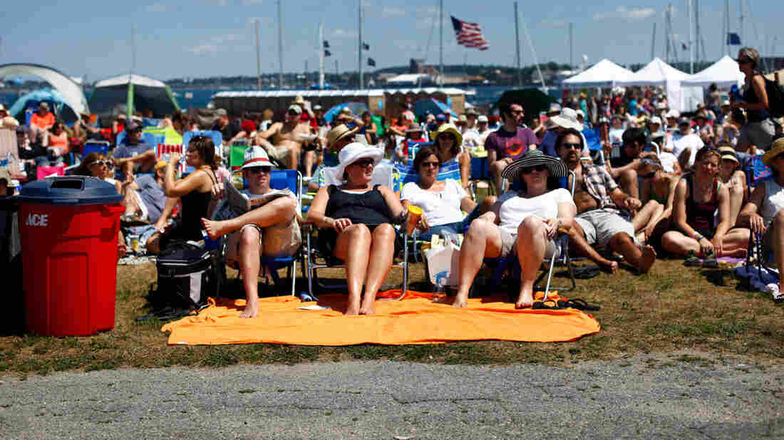 These Newport Folk Festival fans knew well enough to position themselves a ways back from the stage.