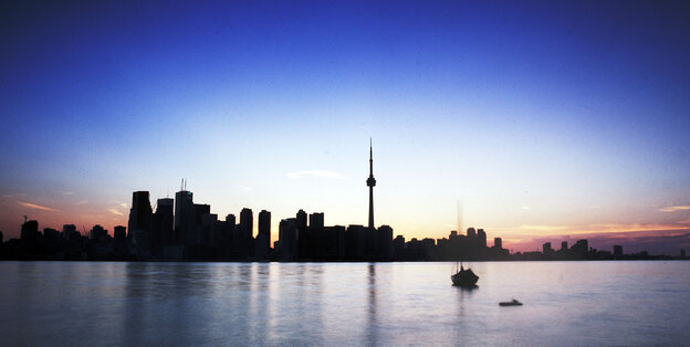 From the Toronto Islands, one of many real-life Toronto locales in Robert Rotenberg's legal thrillers, visitors have a clear view of the city's skyline.