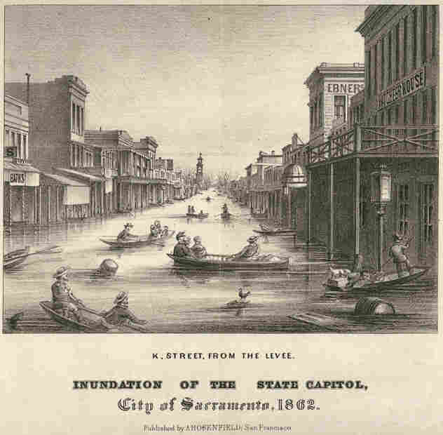 This lithograph from 1862 shows a flooded downtown street in Sacramento, Calif.