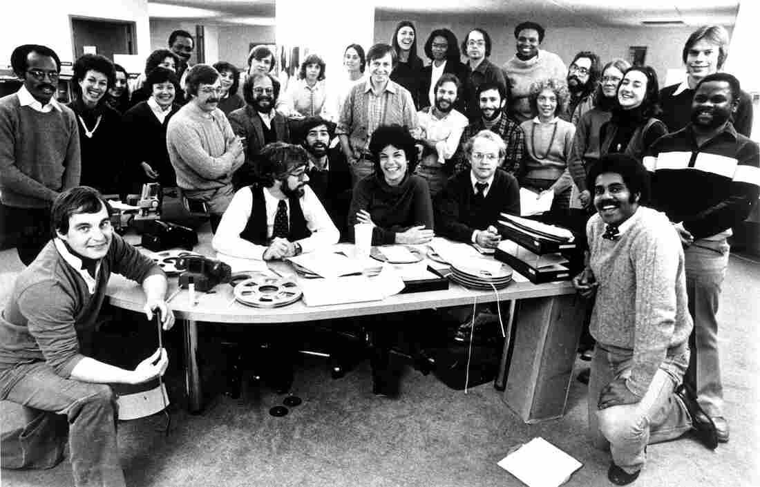The staff of All Things Considered celebrated the 10th anniversary of the program in 1981.