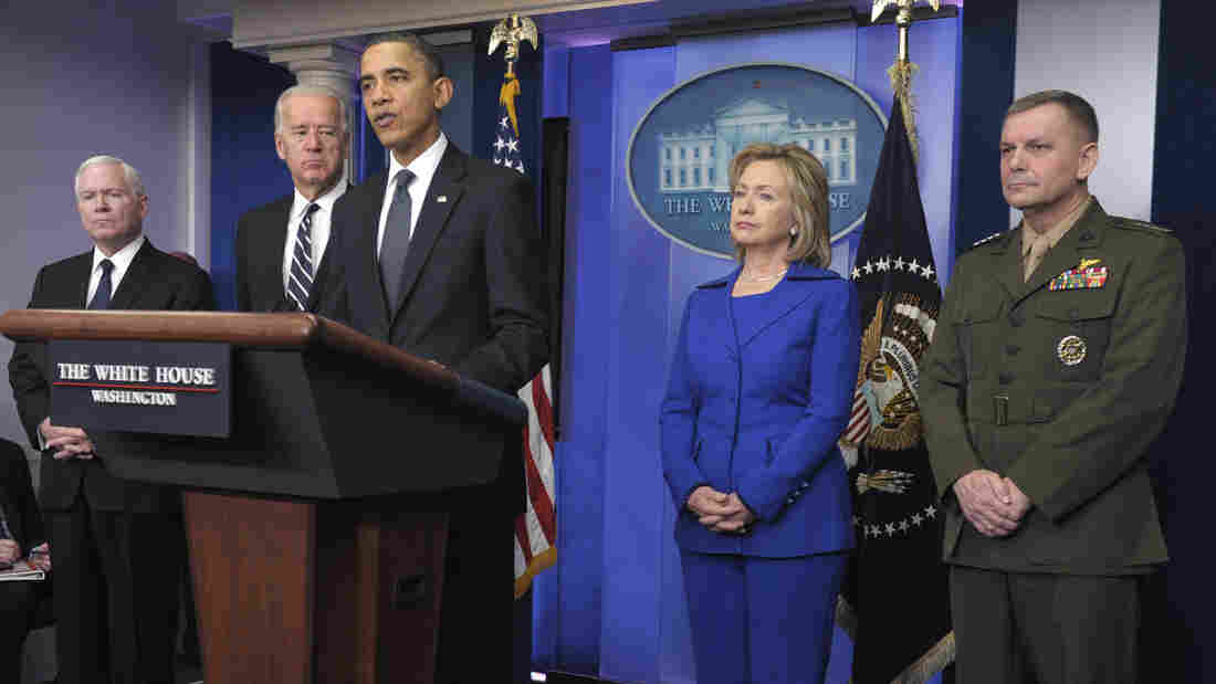 "Attorneys for former Joint Chiefs Vice Chairman Marine Gen. James Cartwright say it is ""preposterous"" to say he betrayed the United States. Here, Cartwright is seen during an announcement by President Obama, along with, from left, Defense Secretary Robert Gates, Vice President Joe Biden, and Secretary of State Hillary Clinton."