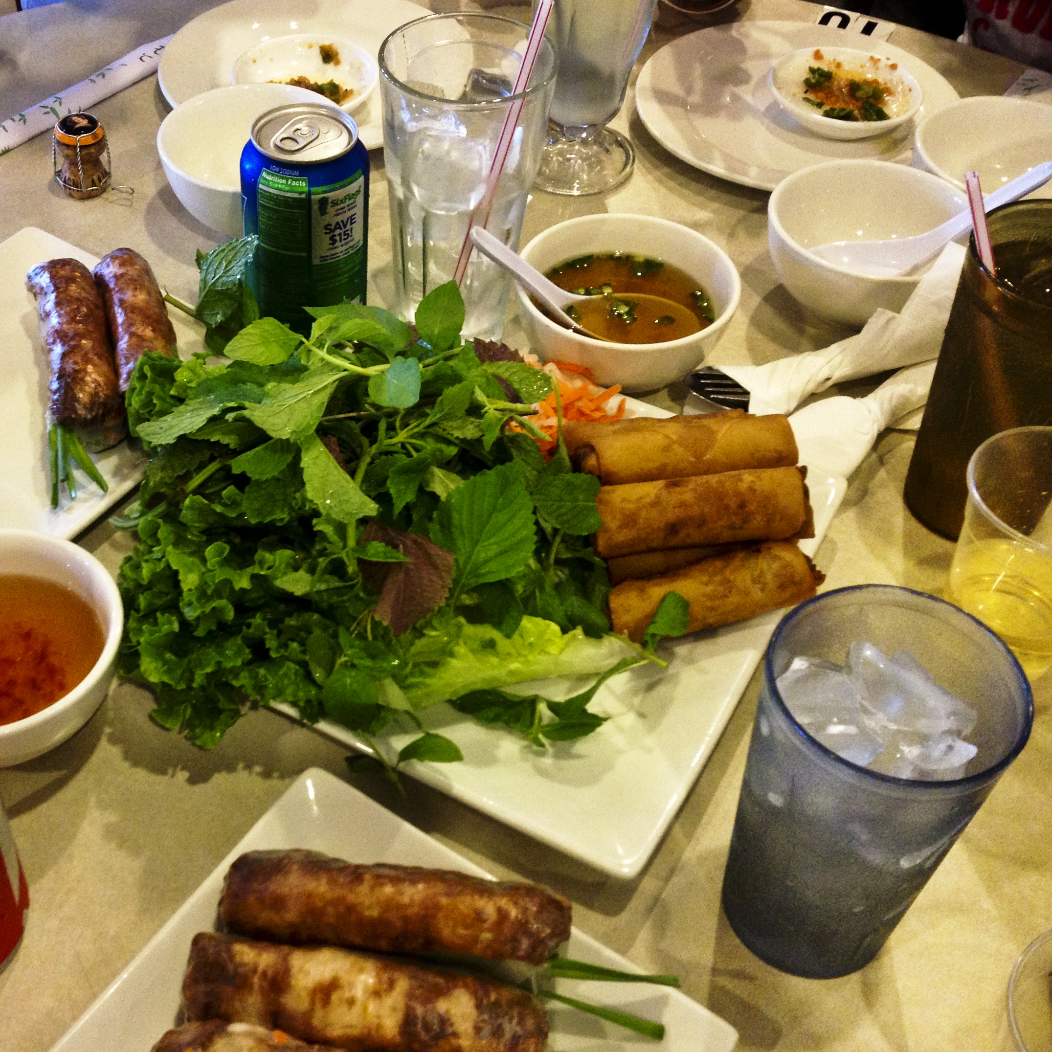 A family-style meal at Thuan Kieu Com Tam, a cash-only, BYOB Vietnamese restaurant in Houston's Chinatown.
