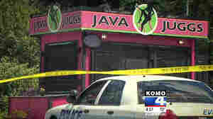 A screen grab shows a police car outside of a Java Juggs