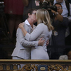 Kris Perry, left, kisses Sandy Stier as they are married at City Hall in San Francisco Friday. The two got their marriage license after a federal appeals court cleared the way for California counties to resume issuing marriage licenses to same-sex couples.