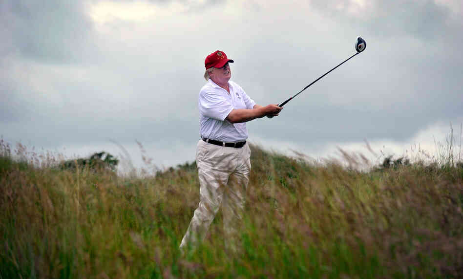 Donald Trump plays a stroke as he officially opens his new Trump International Golf Links course in Aberdeenshire, Scotland, last July. Now, he is aggressiv